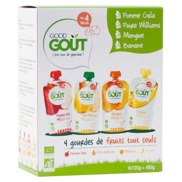 Good Goût Gourde Compote de Fruits Variety Fruits +4m Bio 4 x 120g