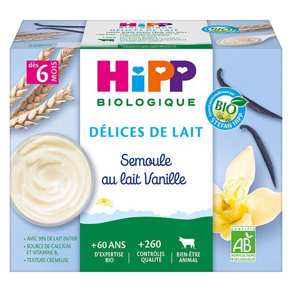 Hipp Bio Délices de Lait Semoule au Lait Vanille +6m 4 x 100g