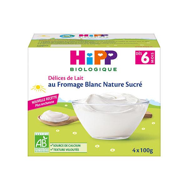 Hipp Bio Fromage Blanc Nature Sucré +6m 4 x 100g