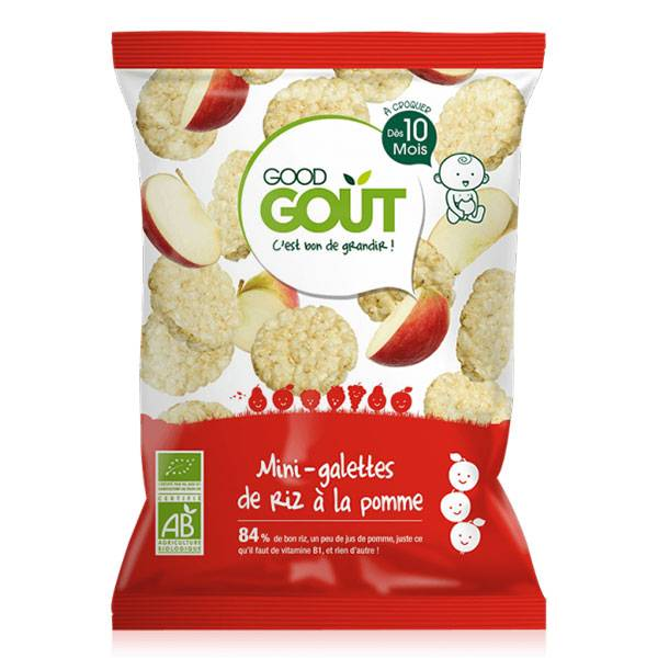 Good Goût Biscuits Mini-Galette de Riz à la Pomme +10m Bio 40g