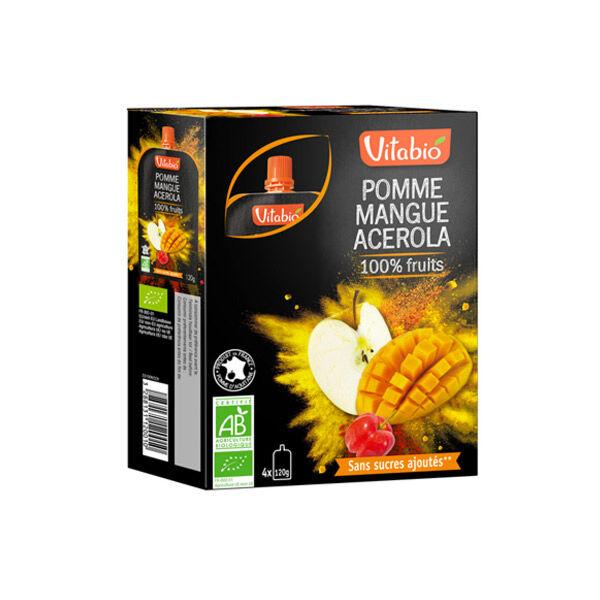 Vitabio Gourdes 100% Pomme Mangue Acérola 4 x 120g