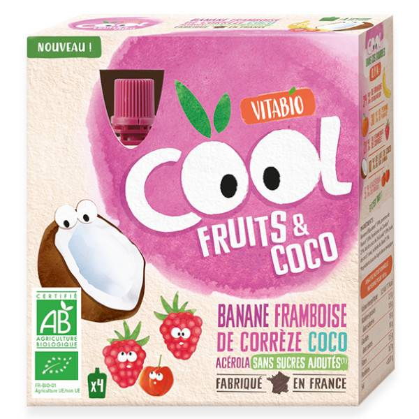 Vitabio Cool Fruits Banane Framboise + Lait de Coco 4 x 85g