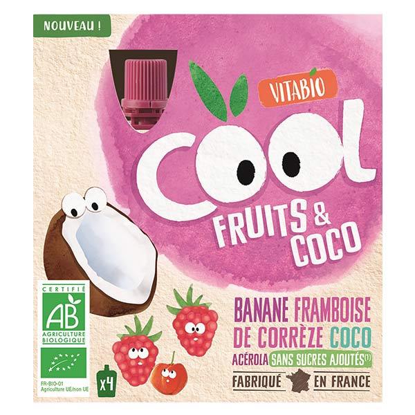 Vitabio Cool Fruits Banane Framboise Coco Acérola Bio Lot de 4 x 85g