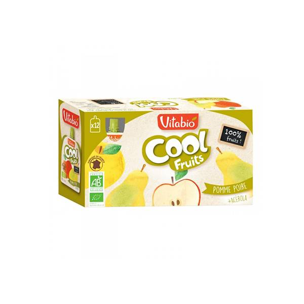 Vitabio Cool Fruits Pomme Poire + Acérola 12 x 90g