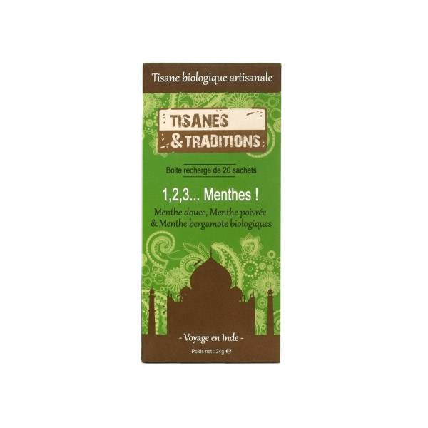 Tisanes & Traditions 1,2,3 Menthes Boite Recharge 20 sachets