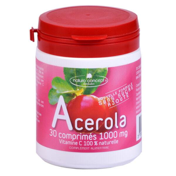 Naturo Concept Acérola 1000 Fruits Rouges Sans Sucres Bio 30 comprimés