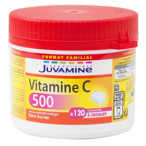 Juvamine Vitamine C 500 Format Familial 120 comprimés à croquer
