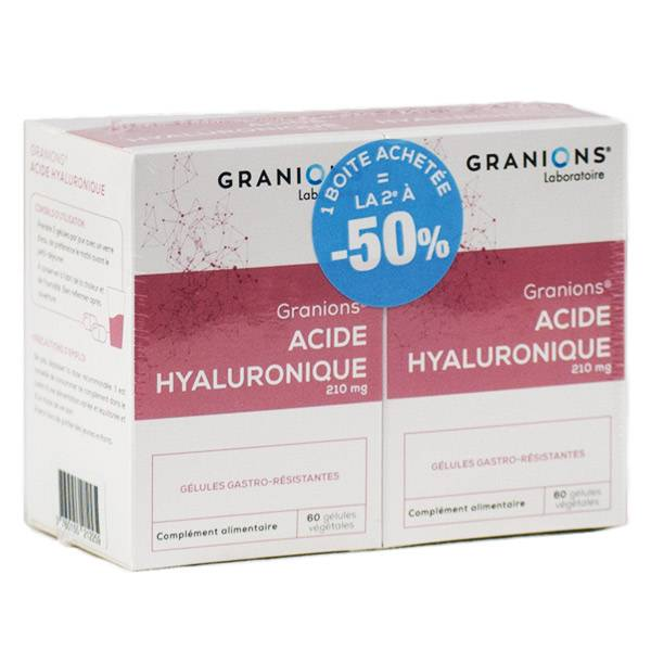 Granions Acide Hyaluronique 210mg Lot de 2 x 60 gélules végétales