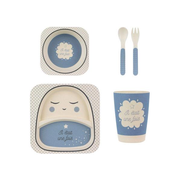 Coffret Repas Enfant Fibre De Bambou X5 Bleu