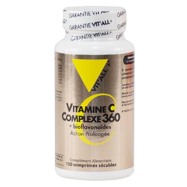 Vit'all+ Vitamine C Complexe 360 + Bioflavonoîdes Action Prolongée 100 comprimés sécables