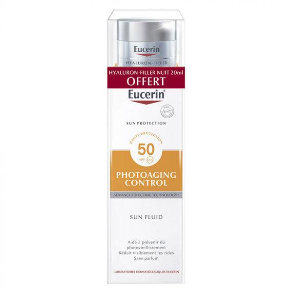 Eucerin Sun Crème Visage PhotoAging Control SPF50 50ml + 1 Hyaluron-Filler Nuit 20ml Offert