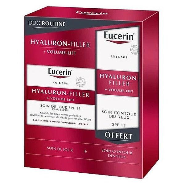 Eucerin Hyaluron-Filler + Volume-Lift Soin de Jour SPF15 Peau Sèche 50ml + Hyaluron-Filler Volume-Lift Soin Contour des Yeux SPF15 15ml Offert