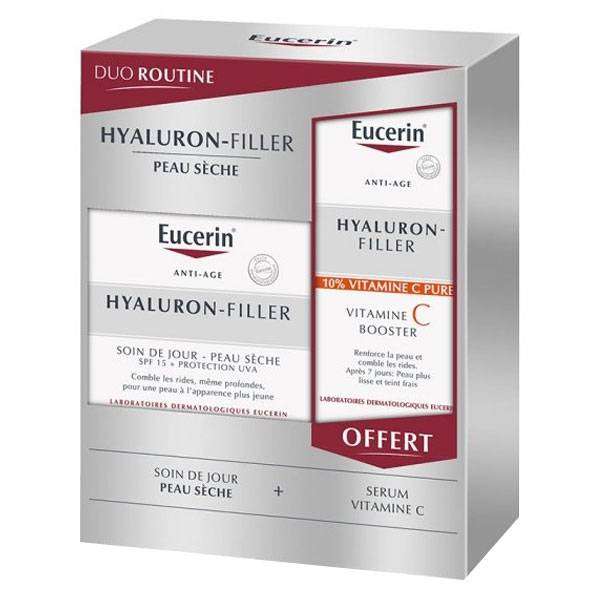 Eucerin Hyaluron-Filler Soin de Jour SPF15 Peau Sèche 50ml + Hyaluron-Filler Sérum Vitamine C Booster 8ml Offert