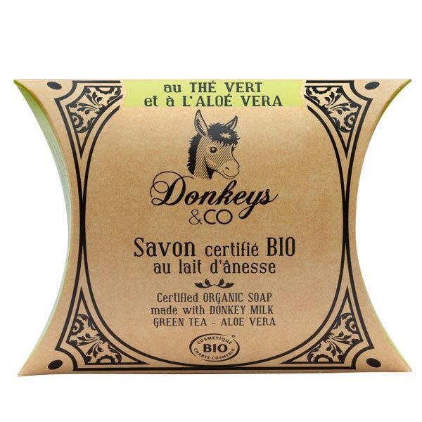 Donkeys & Co Savon Au Lait d'Ânesse Thé Vert Aloé Vera Bio 100g