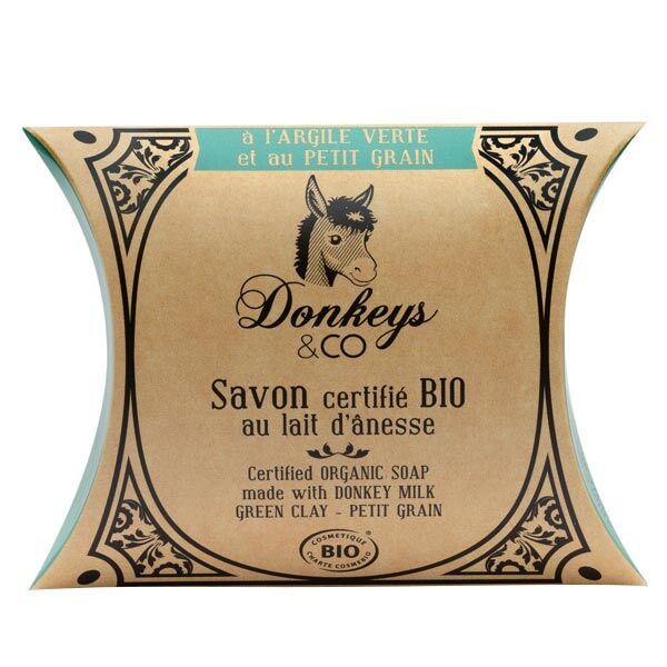 Donkeys & Co Savon Au Lait d'Ânesse Argile Verte Petit Grain Bio 100g
