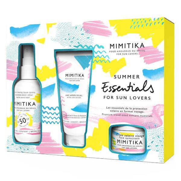 Mimitika Kit Summer Essentials Spray Protecteur Corps SPF50 75ml + Crème Solaire Visage SPF50 10ml + Lait Après-Soleil 50ml