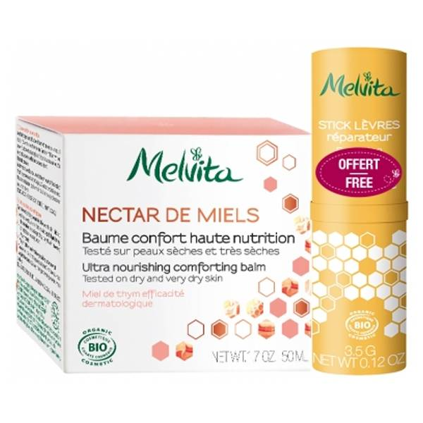 Melvita Nectar de Miels Baume Confort Bio 50ml + Stick à Lèvres 3,5g Offert