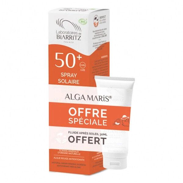 Laboratoires de Biarritz Alga Maris Spray Solaire SPF50+ Bio 150ml + Fluide Après-Soleil Bio 30ml offert