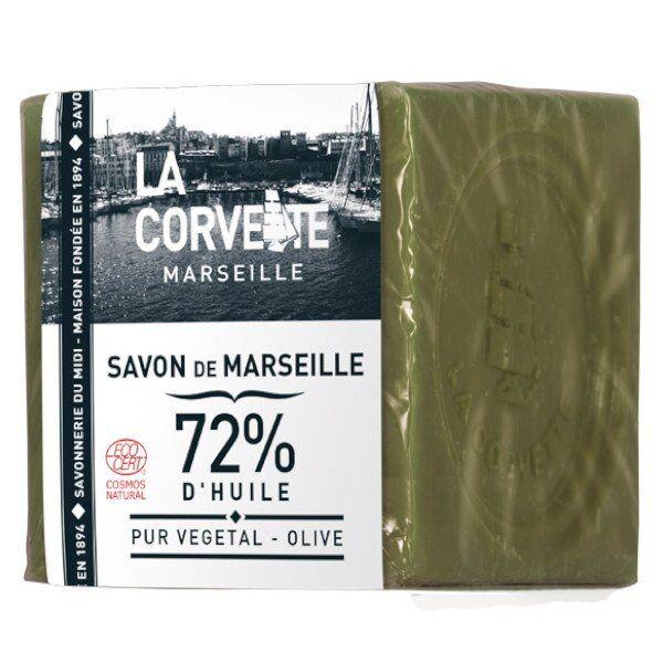 La Corvette Marseille Cube de Savon de Marseille Olive Filmé 300g