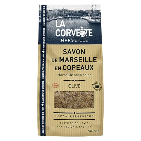 La Corvette Marseille Sachet de Savon de Marseille Copeaux Olive 750g