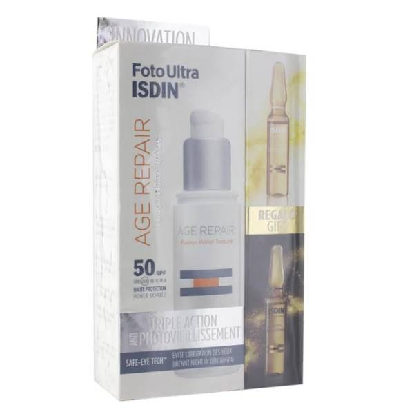 ISDIN Coffret Foto Ultra Age Repair Fusion Fluid SPF50+ 50ml + 2 Ampoules Offertes