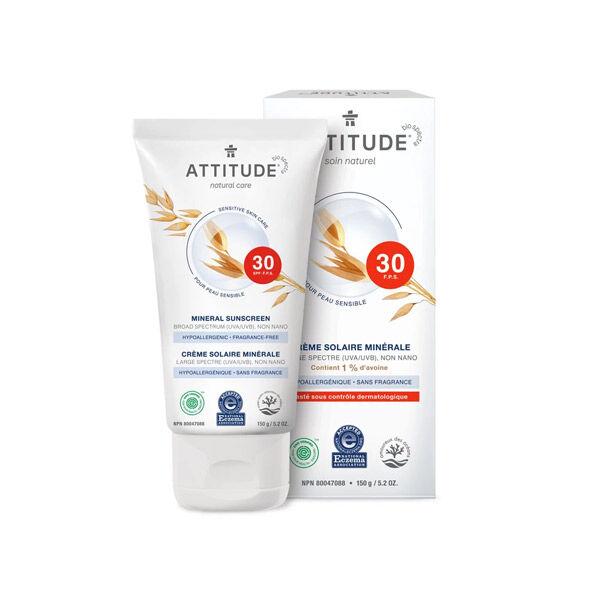 Attitude Crème Solaire Minérale SPF30 Peau Sensible NEA 150g