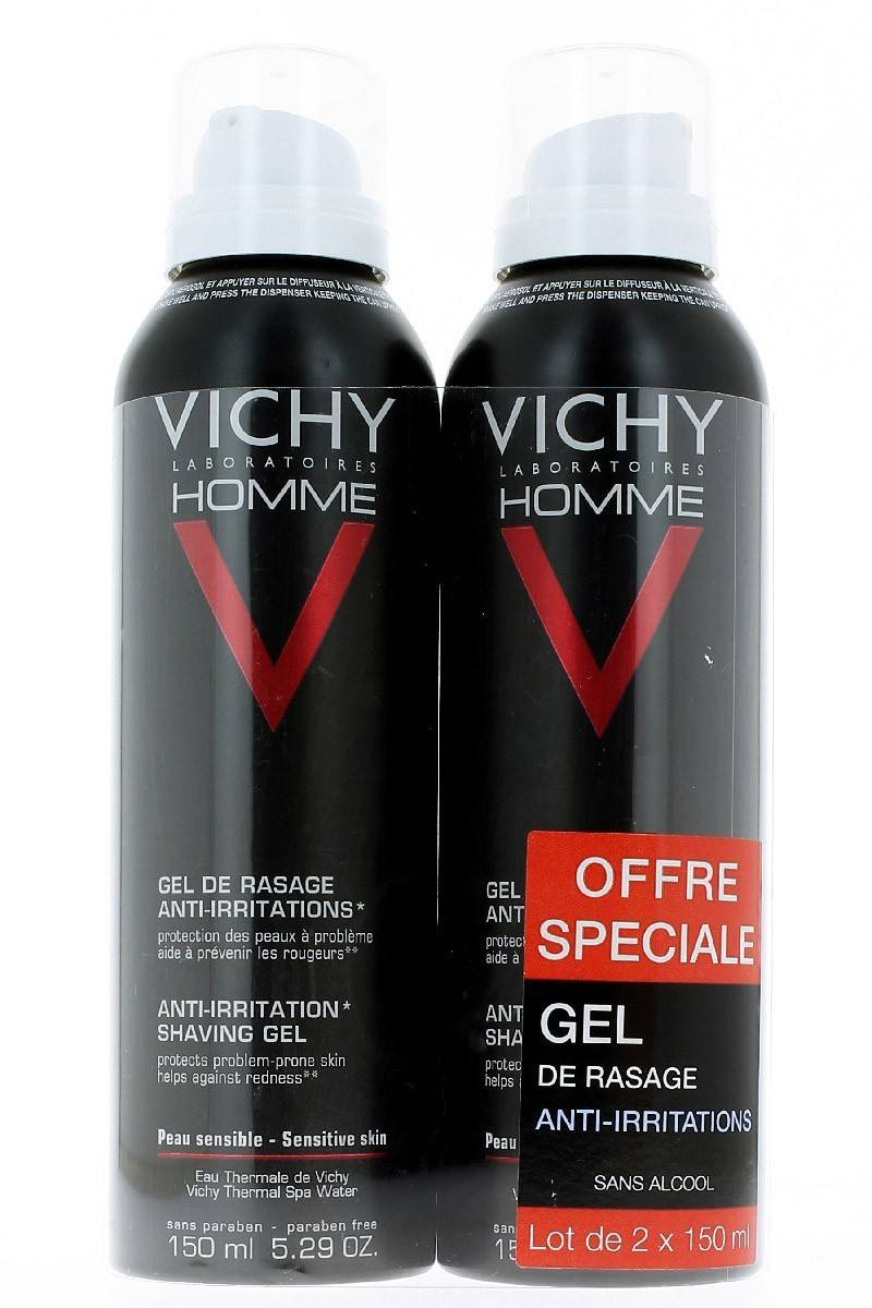 Vichy Homme Gel de rasage Anti-Irritations Lot de 2 x 150ml