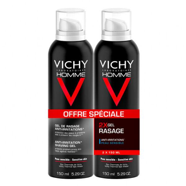 Vichy Homme Gel de Rasage Anti-Irritations Lot de 2 x 150ml