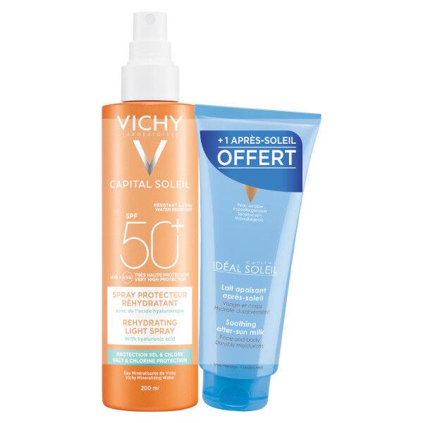 Vichy Capital Soleil Beach Protect Spray Anti-Déshydratation SPF50+ 200ml + Idéal Soleil Lait Apaisant Après Soleil 100ml Offert