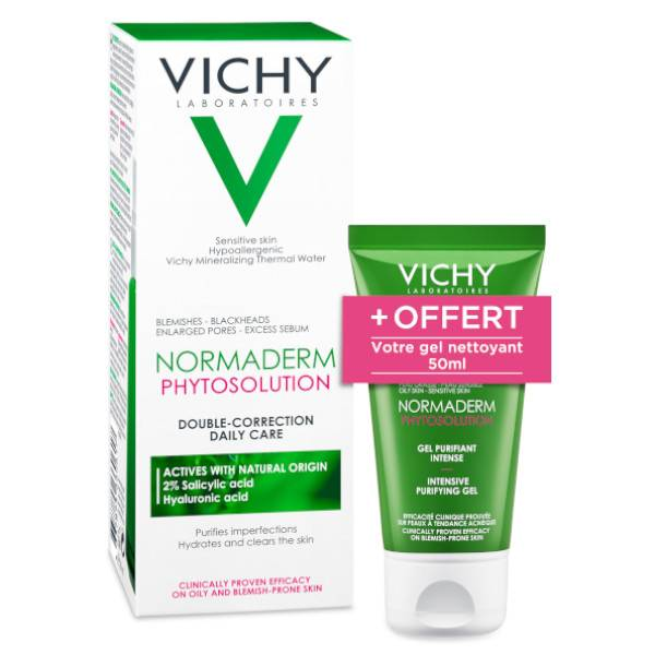 Vichy Normaderm Phytosolution Soin Quotidien Double-Correction 50ml + Gel Purifiant Intense 50ml Offert