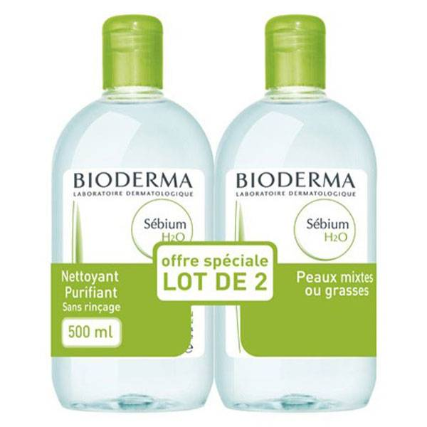 Bioderma Sébium H2O Solution Micellaire Peaux Mixtes à Grasses Lot de 2 x 500ml
