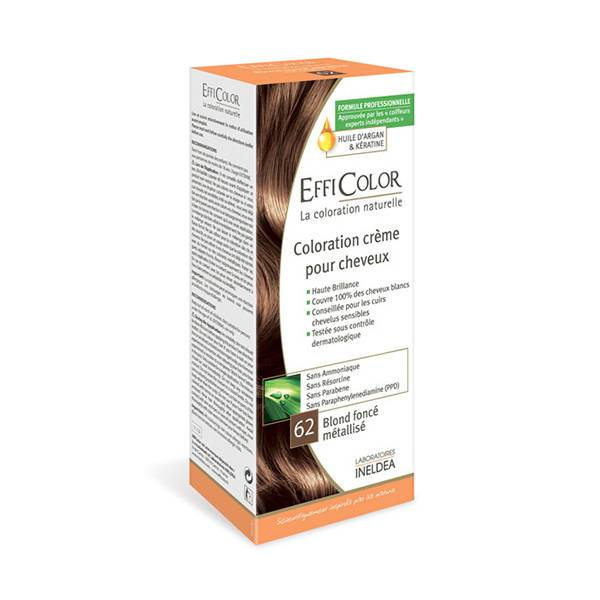 EffiColor Coloration Crème Blond Foncé Metallisé 62