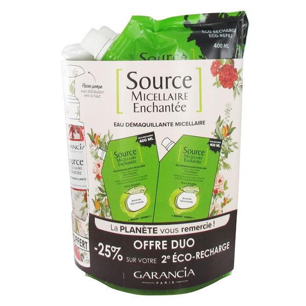 Garancia Micellaire Enchantée Eco Recharge Amande Gourmande 2 x 400ml + Flacon à Remplir 100ml Offert