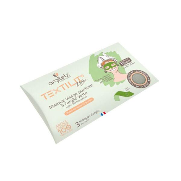 Argiletz Masque Visage d'Argile Verte Textilit 3 masques