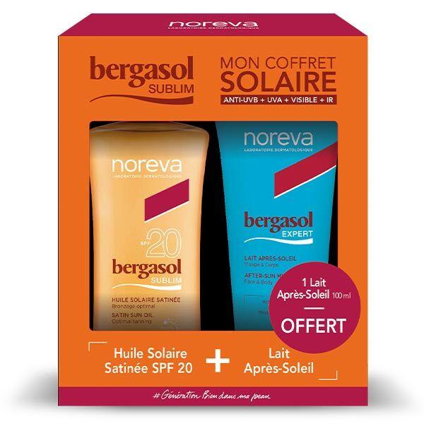 Bergasol Sublim Coffret Huile Solaire Satinée SPF20 125ml + Lait Après-Soleil 100ml offert