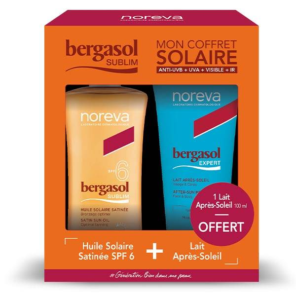 Bergasol Sublim Coffret Huile Solaire Satinée SPF6 125ml + Lait Après-Soleil 100ml offert