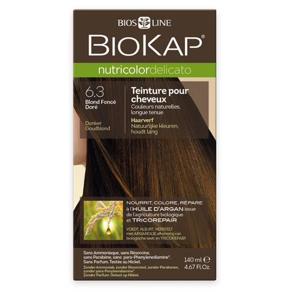 Biokap Nutricolor Delicato Teinture pour Cheveux 6.3 Blond Foncé Doré 140ml