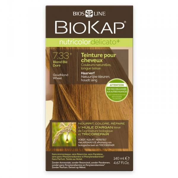 Biokap Nutricolor Delicato+ Teinture pour Cheveux 7.33+ Blond Blé Doré 140ml