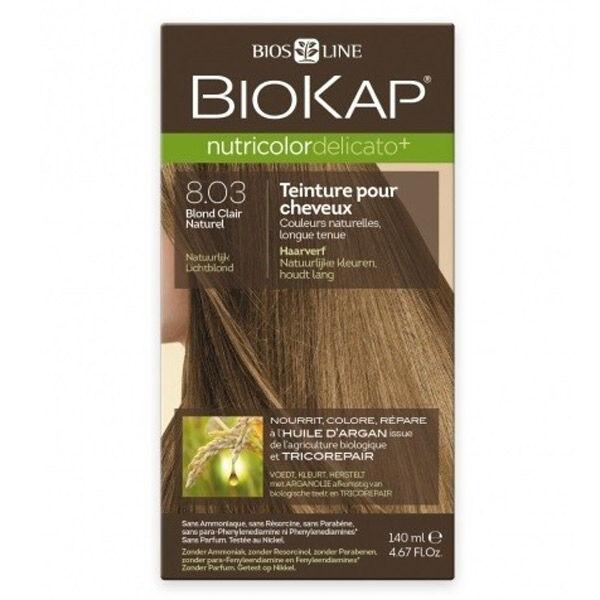 Biokap Nutricolor Delicato+ Teinture pour Cheveux 8.03 Blond Clair Naturel 140ml