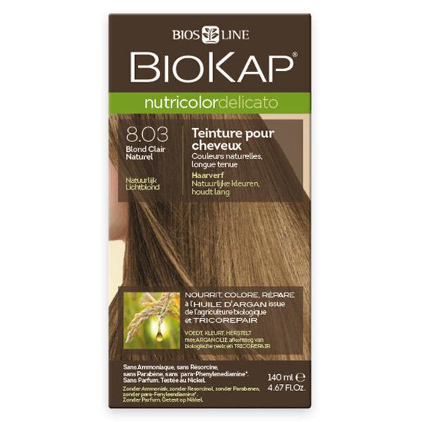 Biokap Nutricolor Delicato Teinture pour Cheveux 8.03 Blond Clair Naturel 140ml