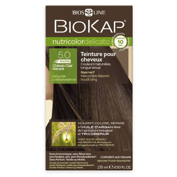 Biokap Nutricolor Delicato Rapid Teinture pour Cheveux 5.0 Châtain Clair Naturel 135ml