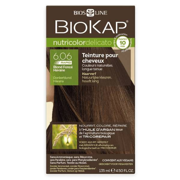Biokap Nutricolor Delicato Rapid Teinture pour Cheveux 6.06 Blond Foncé Havane 135ml