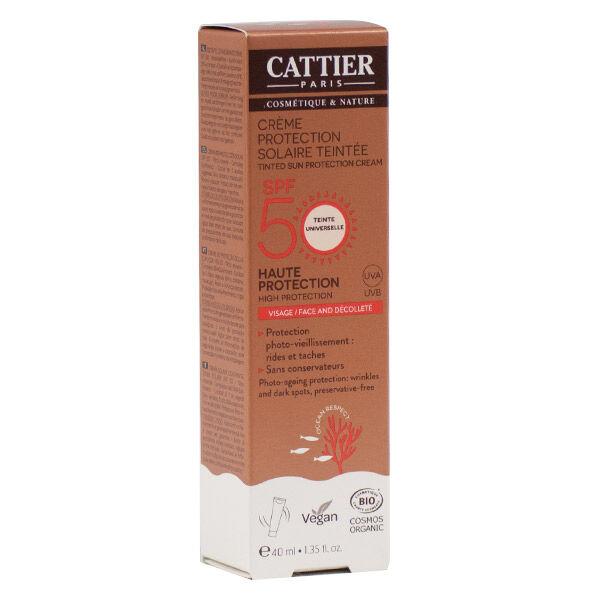 Cattier Solaire Crème Protection Teintée Visage et Décolleté SPF50 40ml
