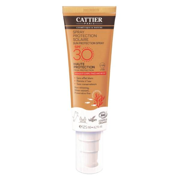 Cattier Solaire Spray Protection Visage et Corps SPF30 125ml