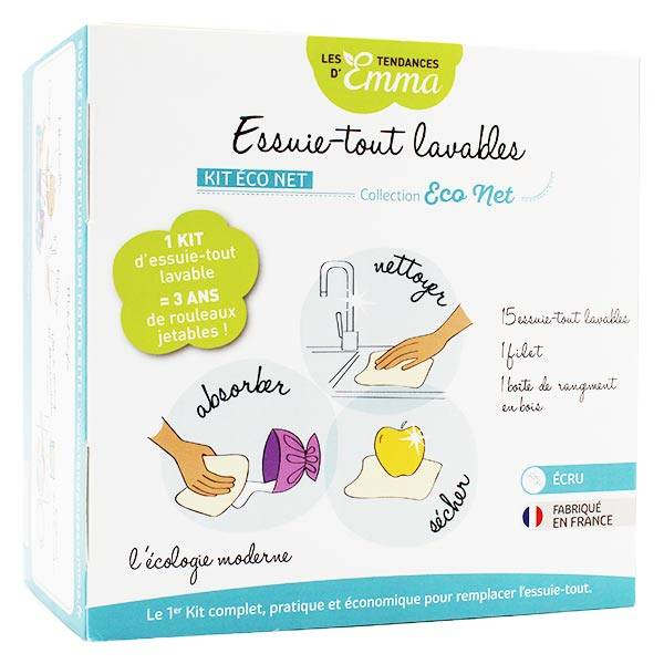 Les Tendances d'Emma Kit Eco Net Essuie-Tout Lavables Bambou Ecru