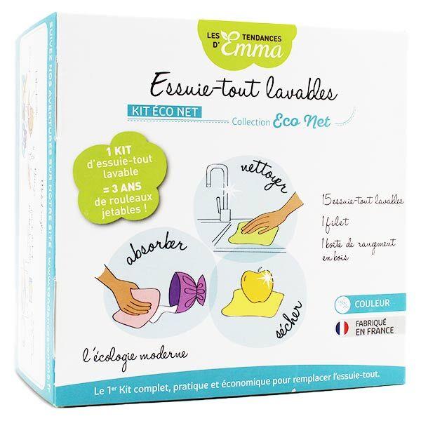 Les Tendances d'Emma Kit Eco Net Essuie-Tout Lavables Bambou Couleur