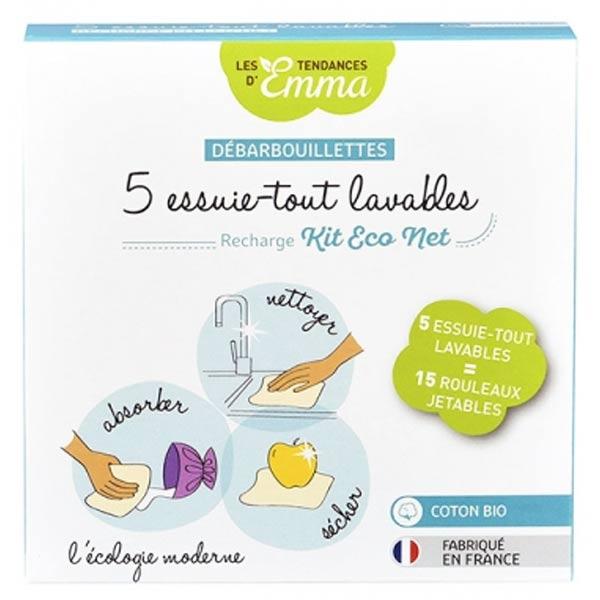 Les Tendances d'Emma Recharge Kit Eco Net Débarbouillettes Essuie-Tout Lavables Bambou Coton Bio 5 unités
