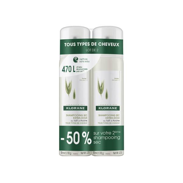 Klorane Shampooing Sec Avoine Lot de 2 x 150ml