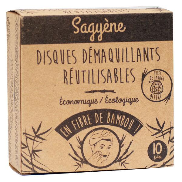 Sagyène Disques Démaquillants Réutilisables Fibre de Bambou 10 pièces + Filet de Lavage Offert
