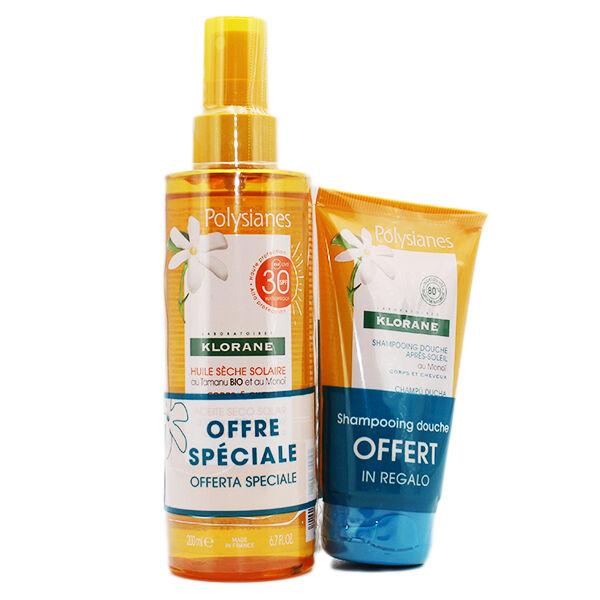 Klorane Monoï Huile Sèche Solaire SPF30 200ml + Shampooing Douche Après-Soleil 75ml Offert